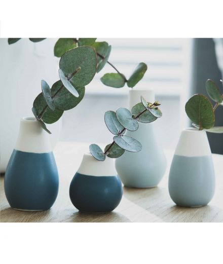 RÄDER DESIGN Set mini vases bleus en porcelaine