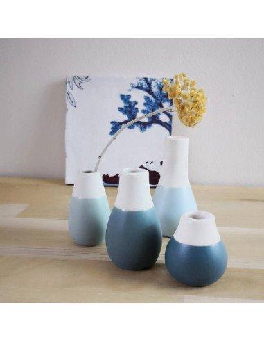RÄDER DESIGN Set mini vases bleus en porcelaine