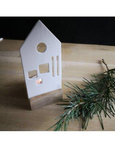 RÄDER décoration Photophore Maison 2D en porcelaine sur support bois