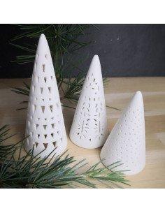 RÄDER décoration noël Set de 3 sapins en biscuit ajouré porcelaine blanche