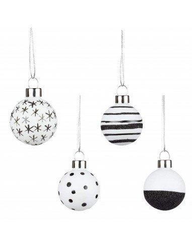 RÄDER décoration Noël set 4 boules en verre blanc et noir paillettes