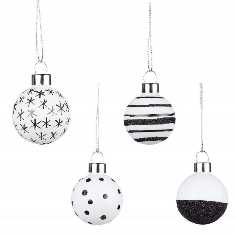 Rader Design Set De 4 Boules En Verre Noir Et Blanc Petit Modele
