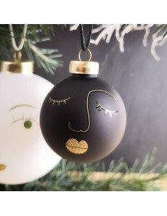 RÄDER décoration Noël Boule en verre visage Sarah noir et or diamètre 5 cm
