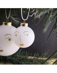 RÄDER décoration Noël Boule en verre visage Susi blanc et or diamètre 5 cm