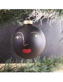 RÄDER décoration noel boule visage en verre blanc et or diamètre 10 cm Sylvia