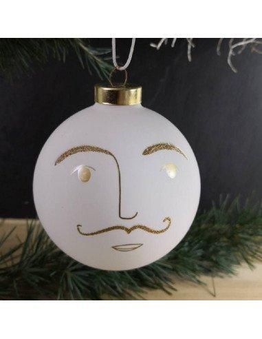 RÄDER décoration noel boule visage en verre blanc et or diamètre 10 cm Simone
