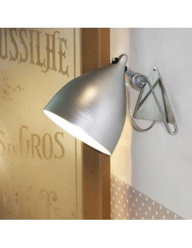 Applique Cornette en porcelaine Tsé et Tsé aluminium brossé naturel lampe métal