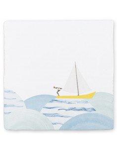 STORYTILES Carreau de céramique faience murale hollande amsterdam comme un poisson dans l'eau voilier voile