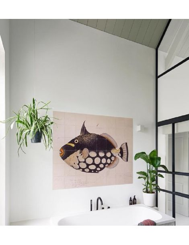 IXXI myworld Tableau Pixel poisson noir et blanc black fish 100x80