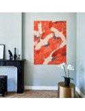 IXXI myworld Tableau Pixel motif kimono cigognes fond rouge fond noir