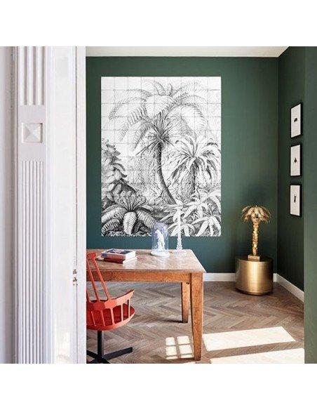 IXXI Décoration murale Pixel Fougères en grisaille