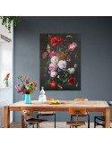 IXXI myworld Tableau Pixel réversible bouquet sur fond noir