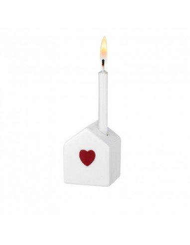 RÄDER DESIGN Mini bougeoir maison porcelaine blanche coeur rouge
