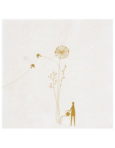 RÄDER DESIGN Serviettes en papier jetables 33X33 cm blanc et or décors jardin jardinier fleurs