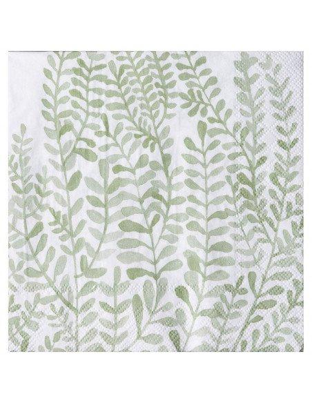 RÄDER DESIGN Serviettes Feuillages vert et blanc