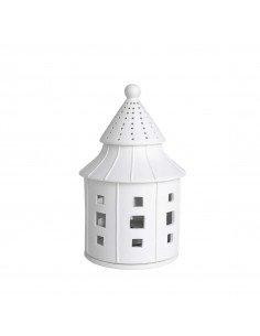 RÄDER DESIGN Maison photophore pagode en porcelaine blanche grand modèle bougeoir
