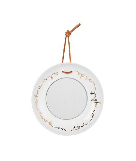 Räder decoration porcelaine blanche Mini miroir assiette look on the bright side
