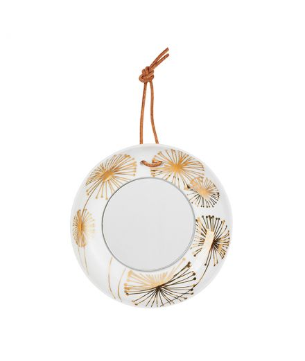 Räder decoration porcelaine blanche Mini miroir assiette pissenlits or