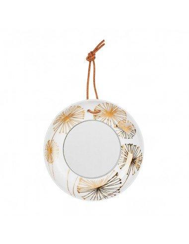 Räder decoration porcelaine blanche Mini miroir assiette pissenlits or