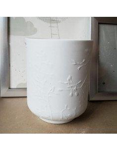 Räder decoration porcelaine blanche photophore bougie décors feuilles fleurs