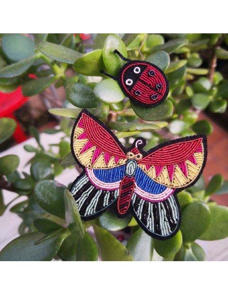 MACON ET LESQUOY Broche Brodée Papillon