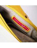 ANNA KASZER Paris pochette porte-monnaie en toile imprimée modèle Ezo motif wazo coloris moutarde