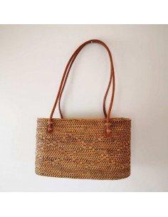 Mini sac cabas en paille tressée et vernie anses en cuir doublure coton