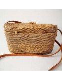 Mini sac box en paille tressée et vernie bandoulière cuir doublure tissus coton imprimé