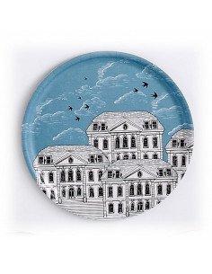 atomic soda mr and mrs clynck plateau rond stratifié bouleau décors ville bleu blanc noir