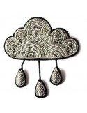 Macon Lesquoy Broche brodée - Nuage et pluie