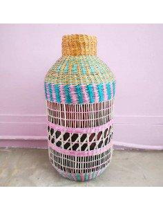 BAZARDELUXE Vase paille tressée colorée bonbone petit modele