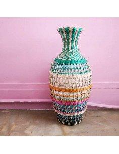 BAZARDELUXE Vase paille tressée colorée amphore petit modele