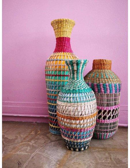 BAZARDELUXE Vase paille tressée colorée amphore GM