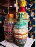 BAZARDELUXE Vase paille tressée colorée amphore grand modele