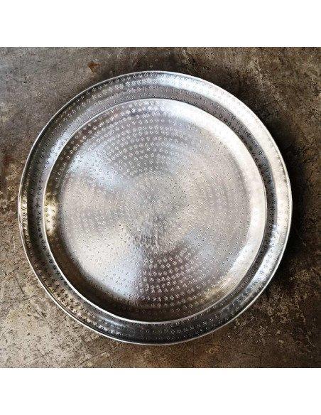 BAZARDELUXE Plateau indien en métal poinçonné PM