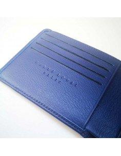 Carré Royal maroquinerie paris Portefeuille plat homme t à élastique cuir pleine fleur bleu marine