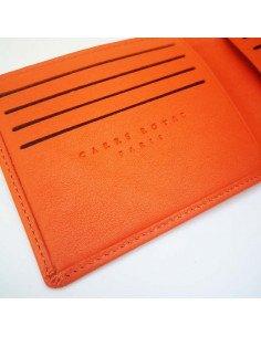 Carré Royal maroquinerie paris Portefeuille plat homme t à élastique cuir pleine fleur orange