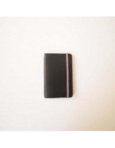 Carré Royal maroquinerie Porte cartes noir en cuir fermé par un élastique