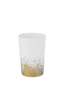 RÄDER DESIGN Photophore en porcelaine blanche poussières d'or PM