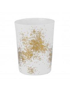 RÄDER DESIGN Photophore en porcelaine blanche poussières d'or M