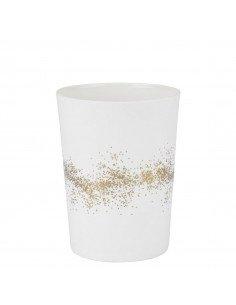 RÄDER DESIGN Photophore en porcelaine blanche poussières d'or GM