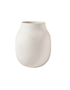 RÄDER DESIGN Vase porcelaine blanche mate Perles émail brillantes