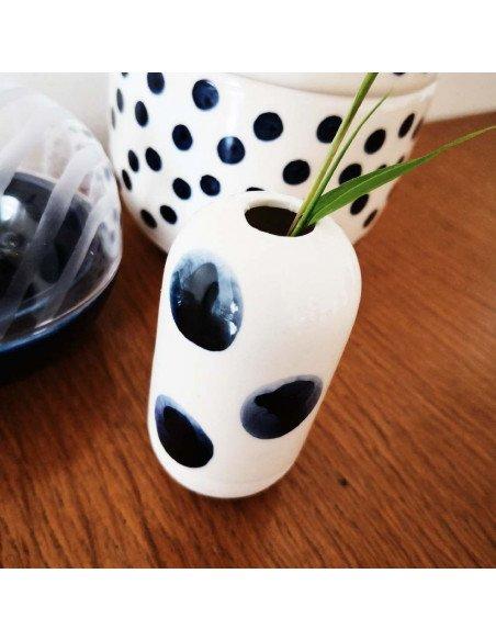 RÄDER DESIGN Mini vase à pois bleus