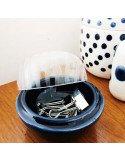 RÄDER DESIGN Boite en porcelaine émaillée bleu et couvercle en verre gravé