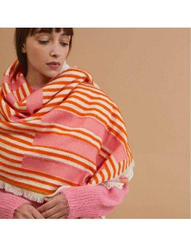 MAPOÉSIE Paris Foulard Etole Echarpe laine homme femme arp coloris candy orange et rose